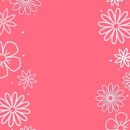 White flower pattern with a pink background vector Ilustração