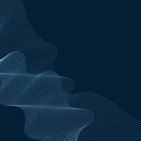 Sky blue moiré wave on space blue background