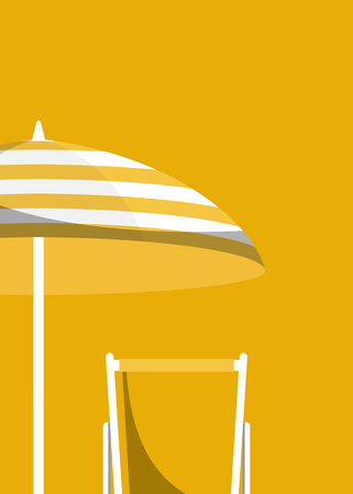 Umbrella and chair on a yellow background vector illustration