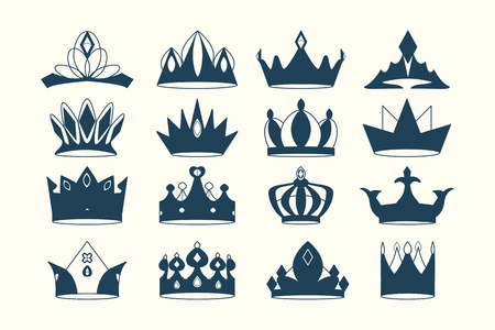 Luxurious royal crown designs vector collection Imagens - 121951410