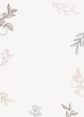 Botanical pattern on beige background vector illustration