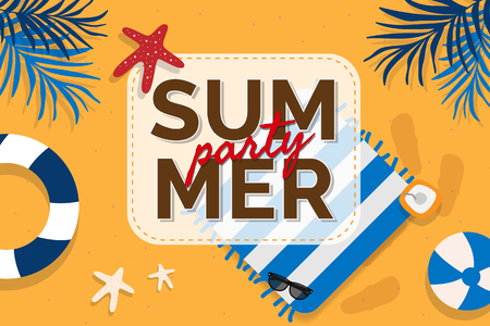 Tropical summer party design vector