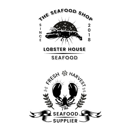 Seafood restaurant vintage logos vector set