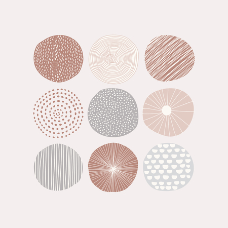 Round patterned doodle background vector