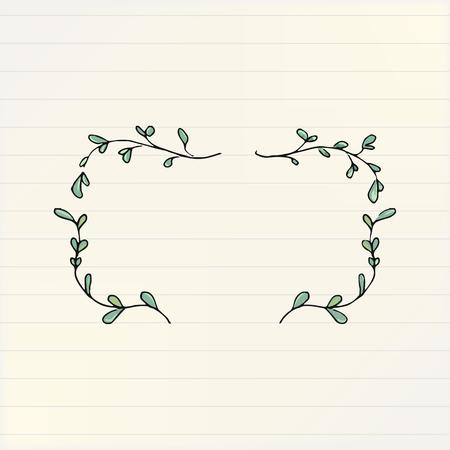 Doodle floral rectangle frame vector illustration