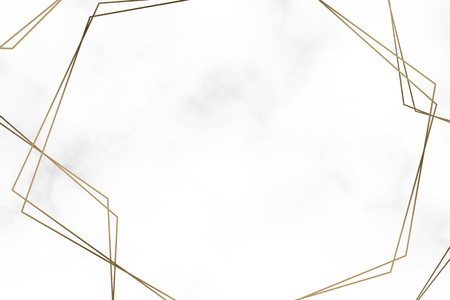 Golden hexagon frame template vector illustration Illustration