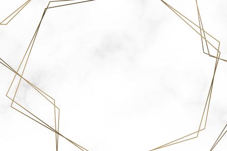 Goldene Sechseckrahmenschablonen-Vektorillustration Vektorgrafik