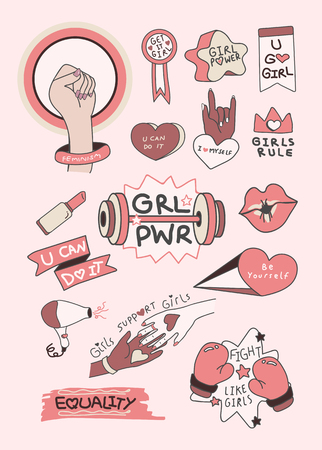 Pink girl power collection vectors
