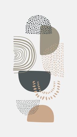 Semicircle patterned doodle background vector Standard-Bild - 122626953