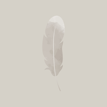 Single gray lightweight feather vector illustration
