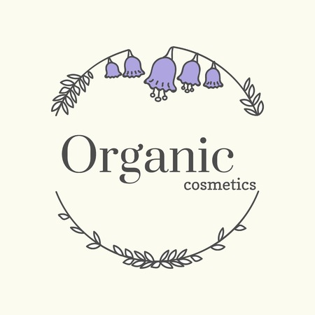 Floral organic cosmetics logo vector illustration  イラスト・ベクター素材