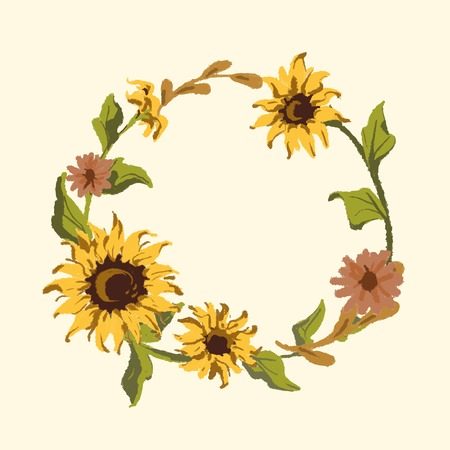 Round sunflower wreath frame vector