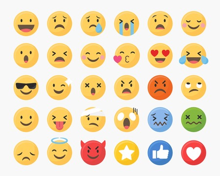 Social media emoticons vector set 일러스트