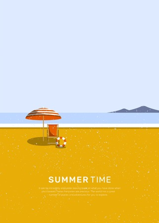 Summer time with umbrella and chair by the beach vector Stockfoto - 122628554
