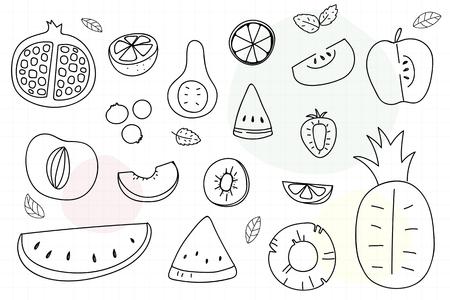 Summertime fruit doodle vector collection Illustration