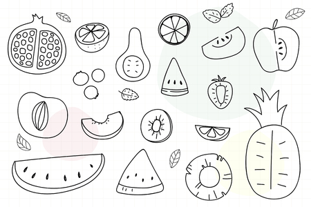 Summertime fruit doodle vector collection