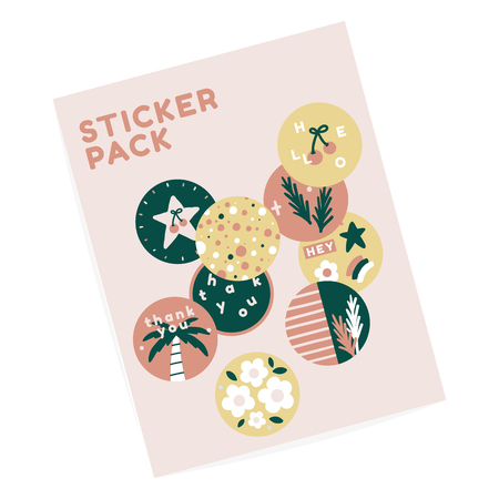 Tropical sticker label pack vector Çizim
