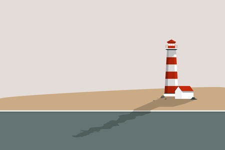Lighthouse by the sea summer vector