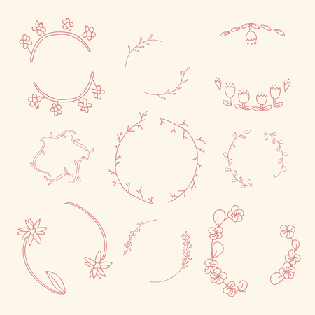 Pink botanical wreath vector collection