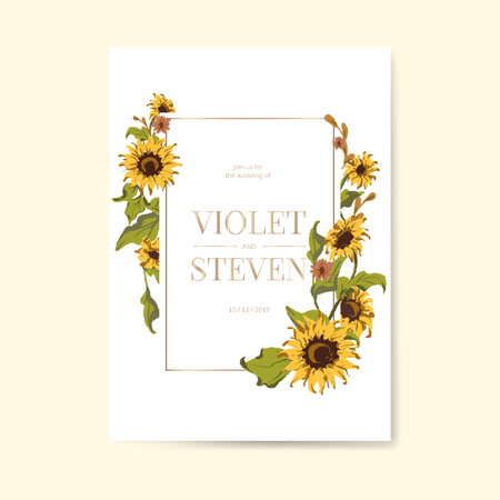 Sunflower wedding invitation card mockup vector illustration