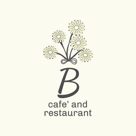 B cafe and restaurant logo vector illustration