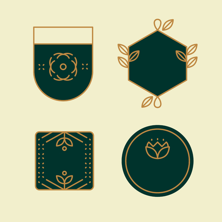 Geometric shaped badge collection vector illustration Ilustração