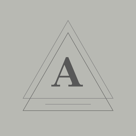 Triangle badge on gray background vector illustration