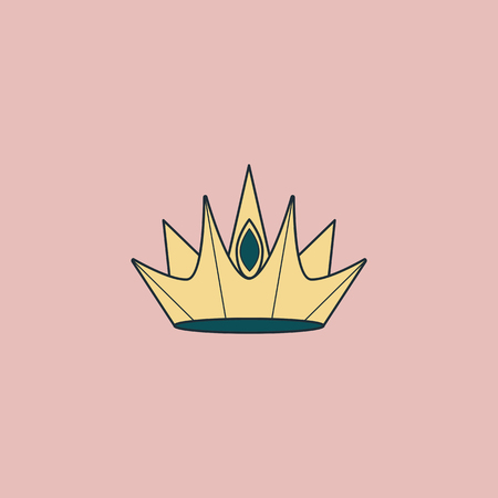 Yellow luxurious geometric crown design vector illustration Иллюстрация