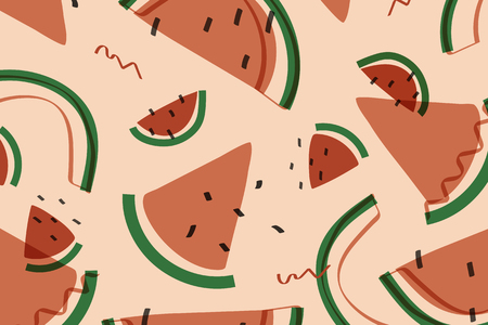 Tropical watermelon fruit pattern vector illustration Imagens - 121951636