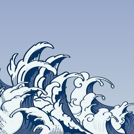 Blue Japanese wave background vector