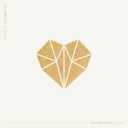 Golden shimmering geometric heart vector illustration