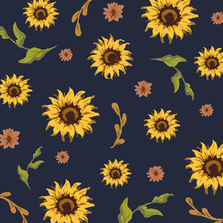 Sunflower pattern with a navy blue background
