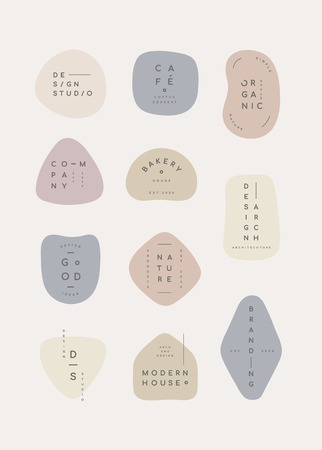Simple pastel minimal badge collection vector illustration 向量圖像