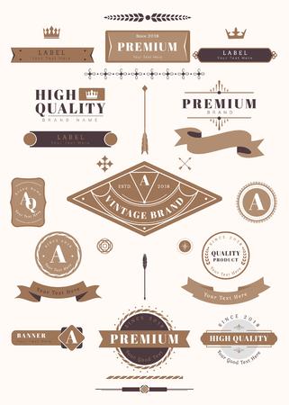 Illustrazione vettoriale di set di elementi di design vintage premium