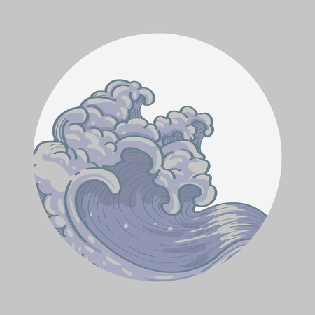 Gray Japanese wave background vector