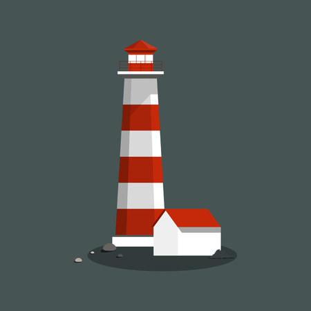 Summer lighthouse and a house vector Ilustração