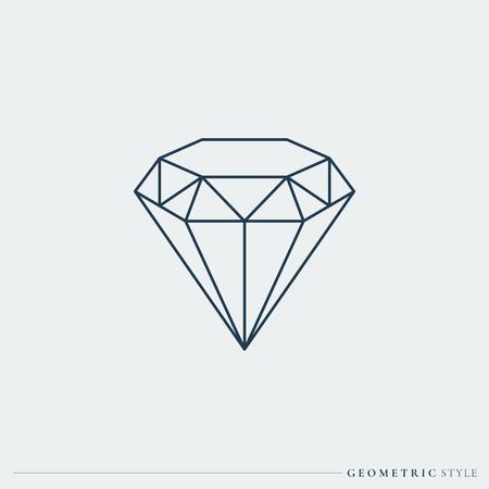 Linear geometric diamond design vector illustration
