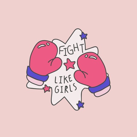 Boxing gloves with fight like girls vector