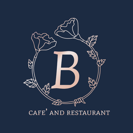 B cafe and restaurant logo vector illustration Banque d'images - 121951674