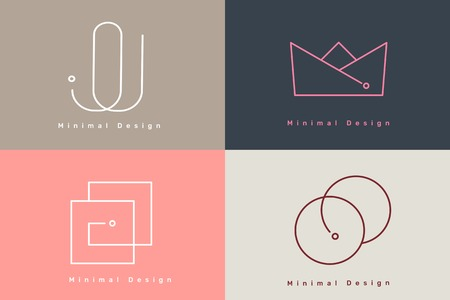 Colorful minimal design logo collection vector illustration