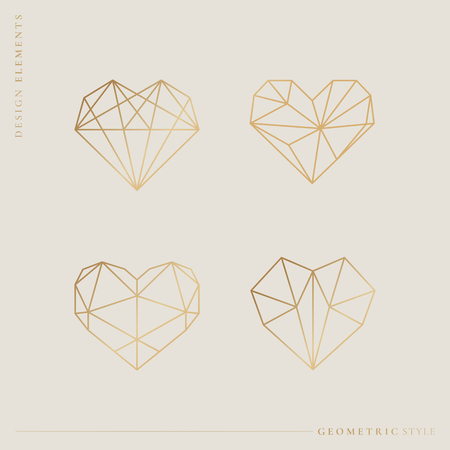 Geometric style heart collection vector illustration
