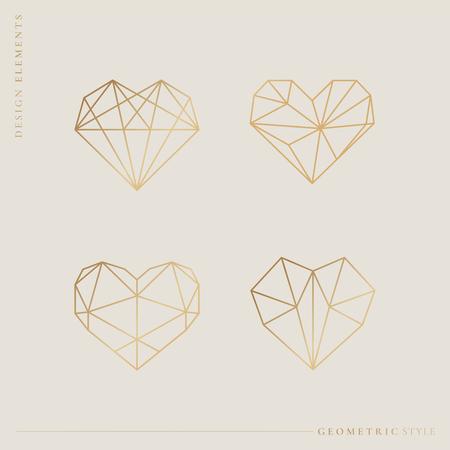 Ilustracja wektorowa kolekcji serca w stylu geometrycznym