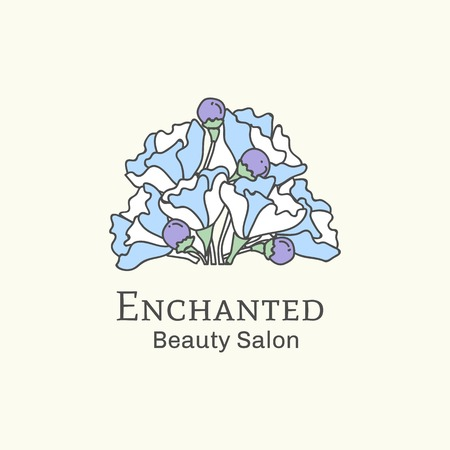 Enchanted beauty salon logo vector illustration