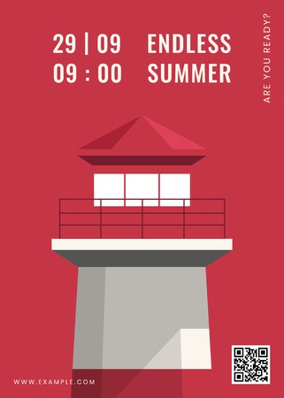 Lighthouse on a red background vector