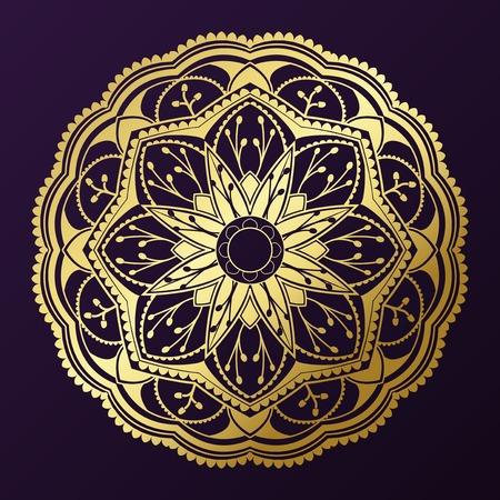 Geometrical gold mandala pattern on purple background