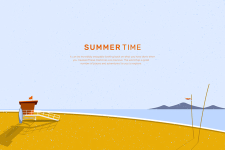 Beach cabin by the seaside vector illustration Ilustrace