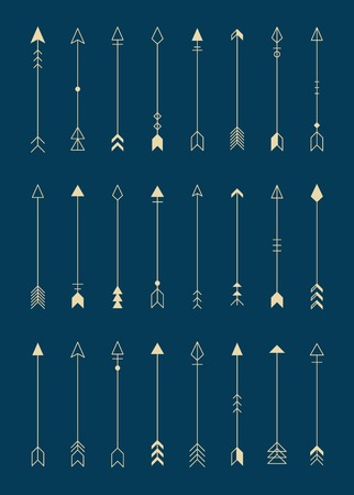 Arrow design element on a navy blue background vector