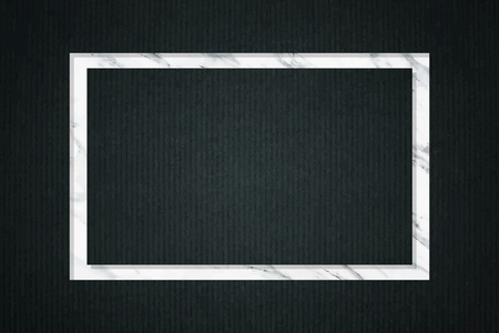 Rectangle frame on dark green fabric textured background vector illustration