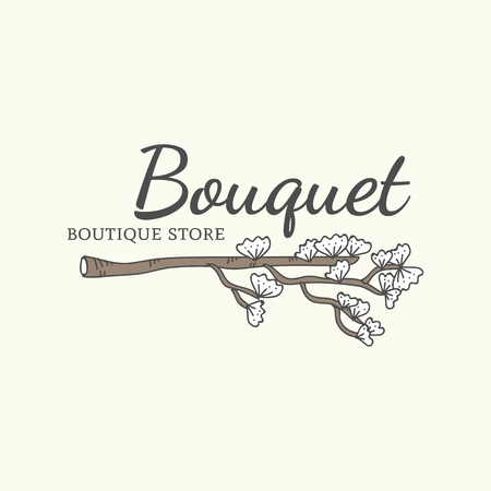 Bouquet boutique store logo vector illustration