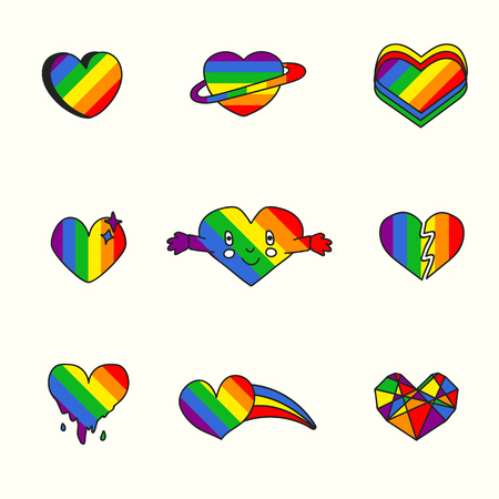 Rainbow heart design collection vector illustration